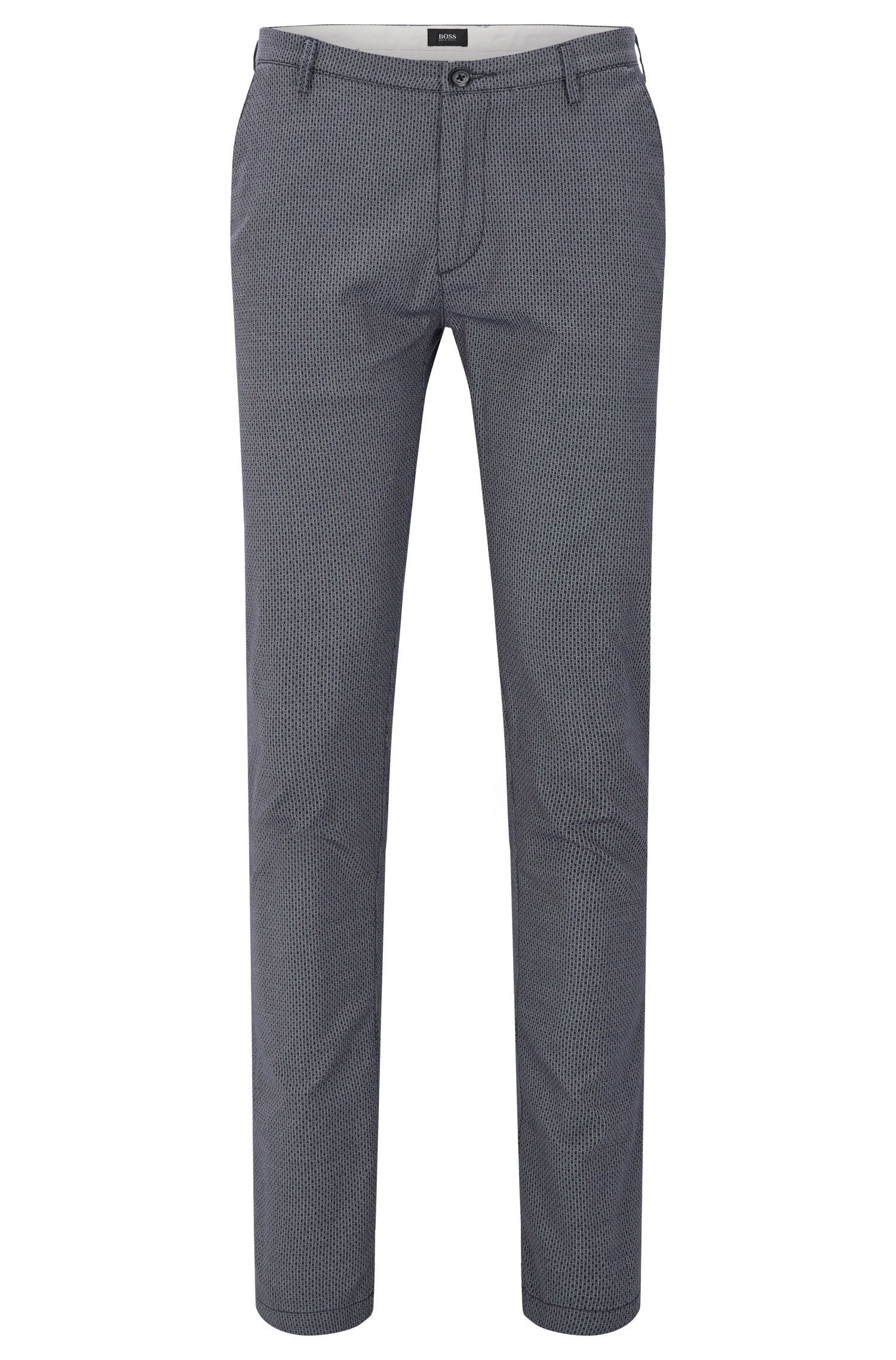 Patterned slim-fit chinos in stretch cotton: 'Rice3-D'