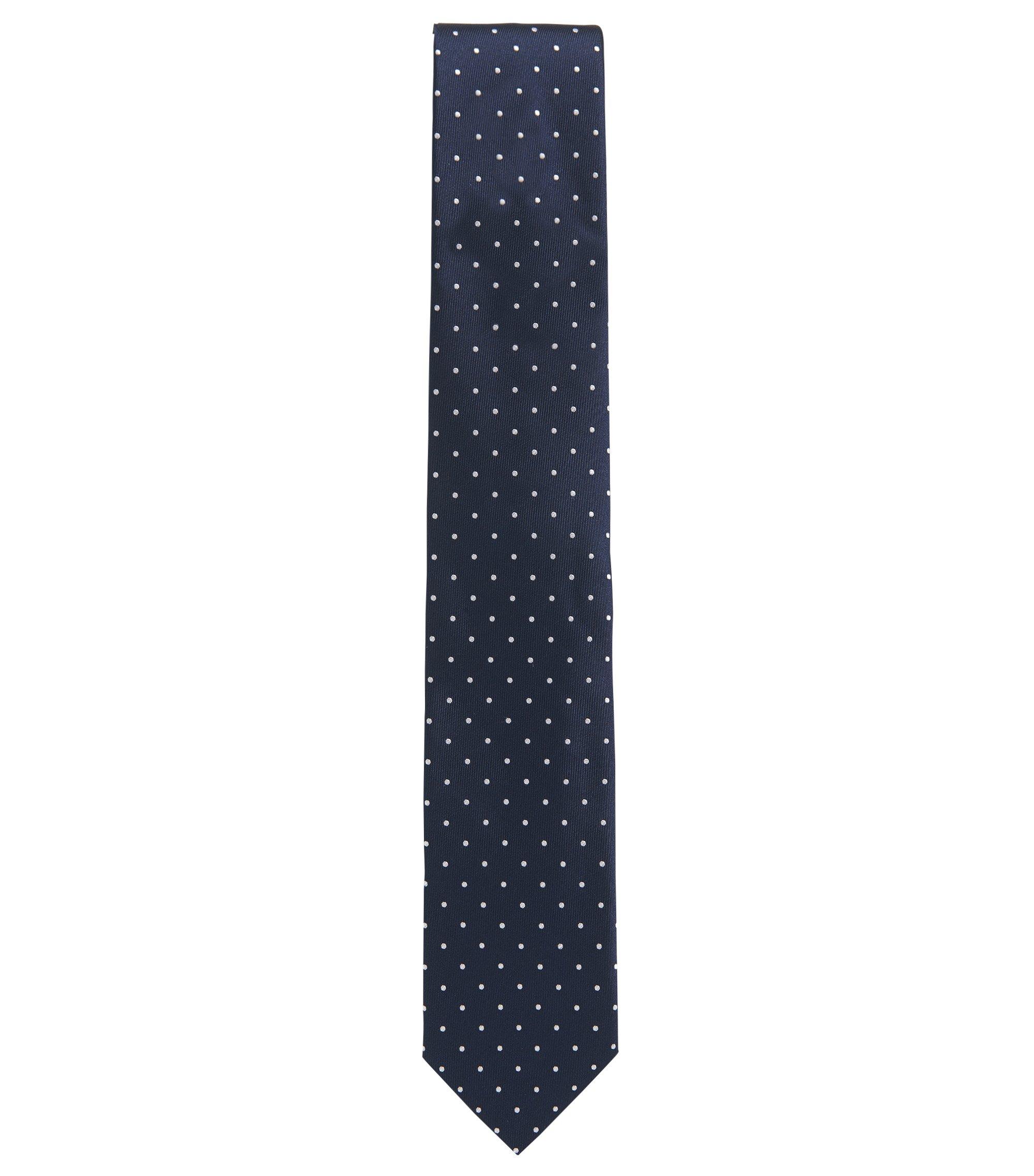 Zijden stropdas met microstippen, Donkerblauw