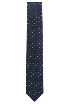 Silk tie with micro dots, Dunkelblau