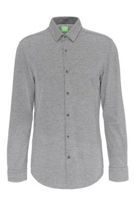 Camisa slim fit estampada en algodón: 'Bertillo', Gris marengo