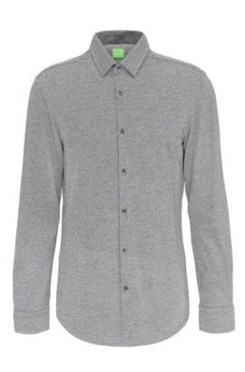 Patterned slim-fit shirt in cotton: 'Bertillo', Anthracite