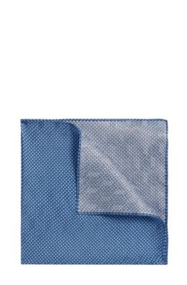 Patterned pocket square in silk and viscose: 'Pocket sq. 33x33 cm', Blue