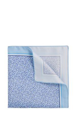 Patterned pocket square in silk: 'Pocket sq. 33x33 cm', Blue