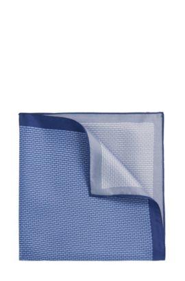Pochette da taschino a disegni in seta: 'Pocket sq. 33x33cm', Blu
