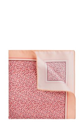 Patterned pocket square in silk: 'Pocket sq. 33x33 cm', light pink