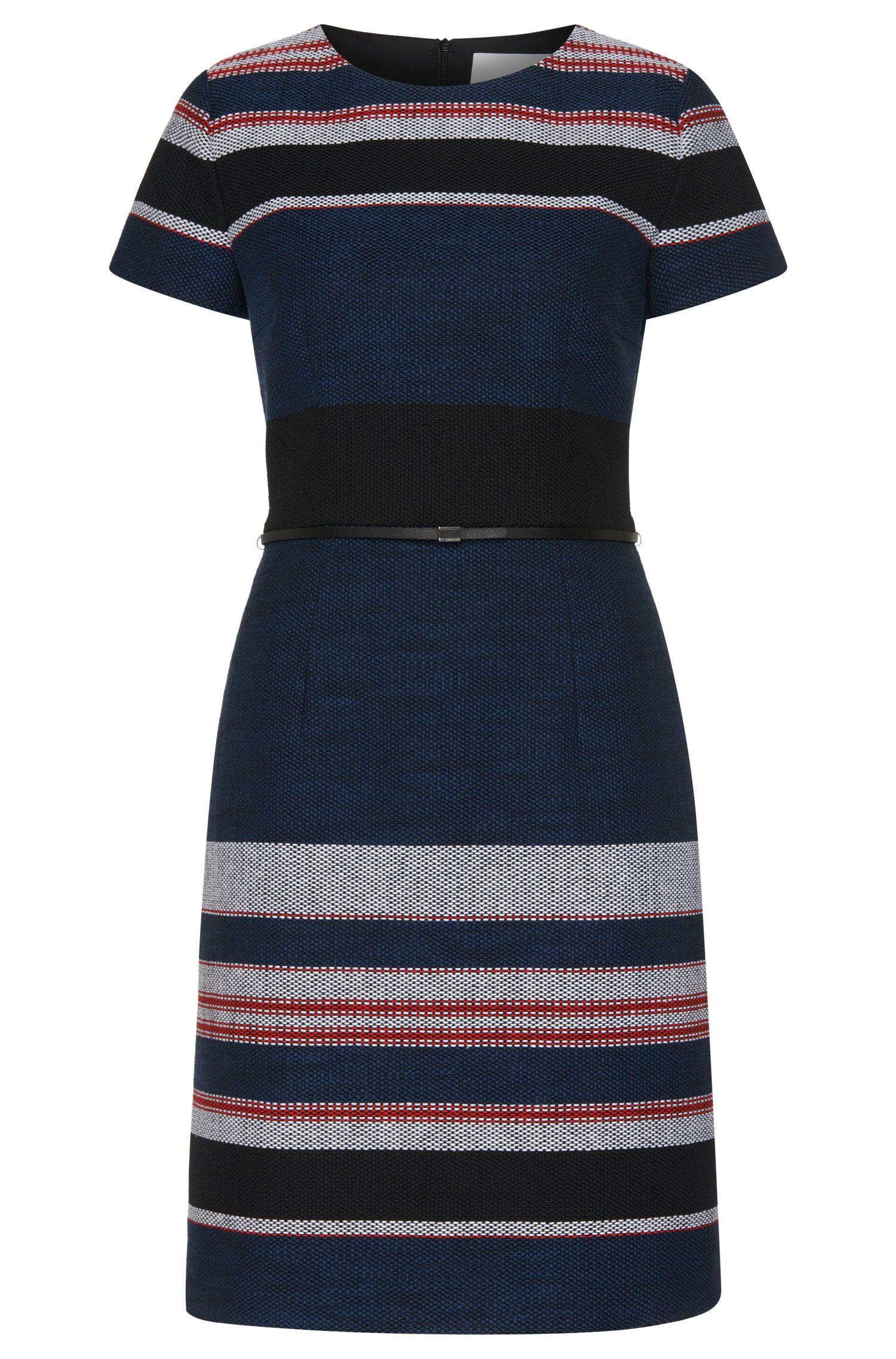 Vestido a rayas en mezcla de algodón con textura: 'Detina'