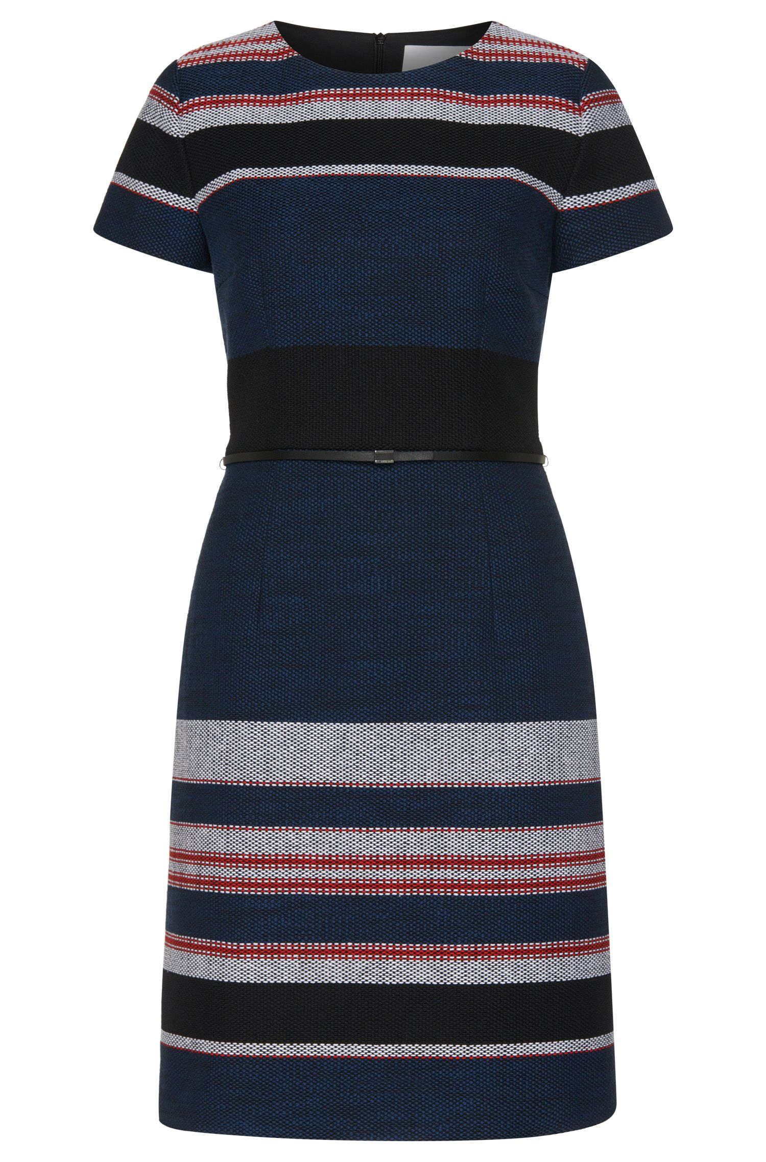 Striped dress in textured cotton blend: 'Detina'