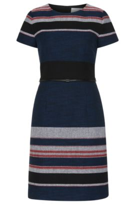 Striped dress in textured cotton blend: 'Detina', Patterned