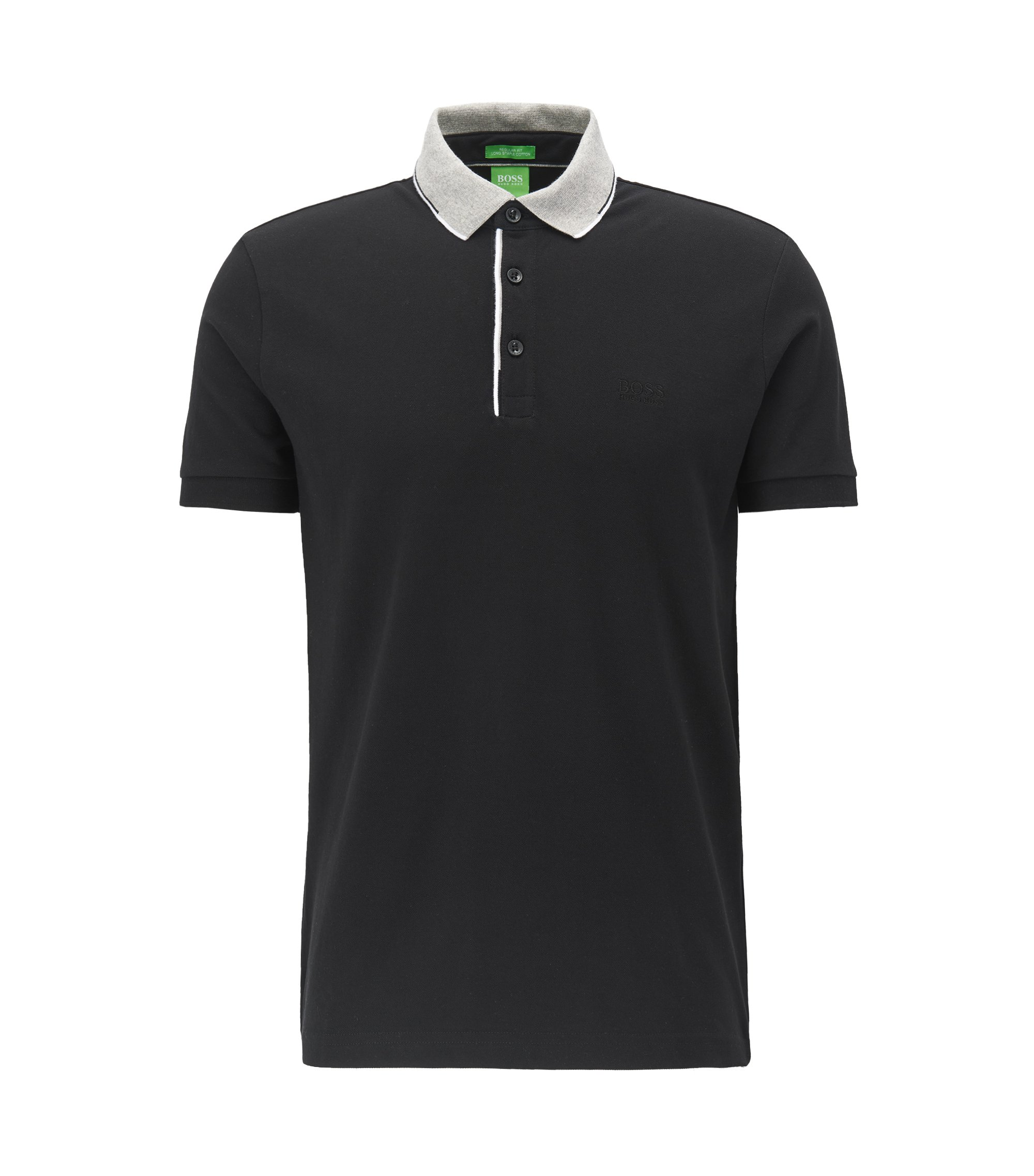 Regular fit cotton piqué polo shirt with contrast collar , Black