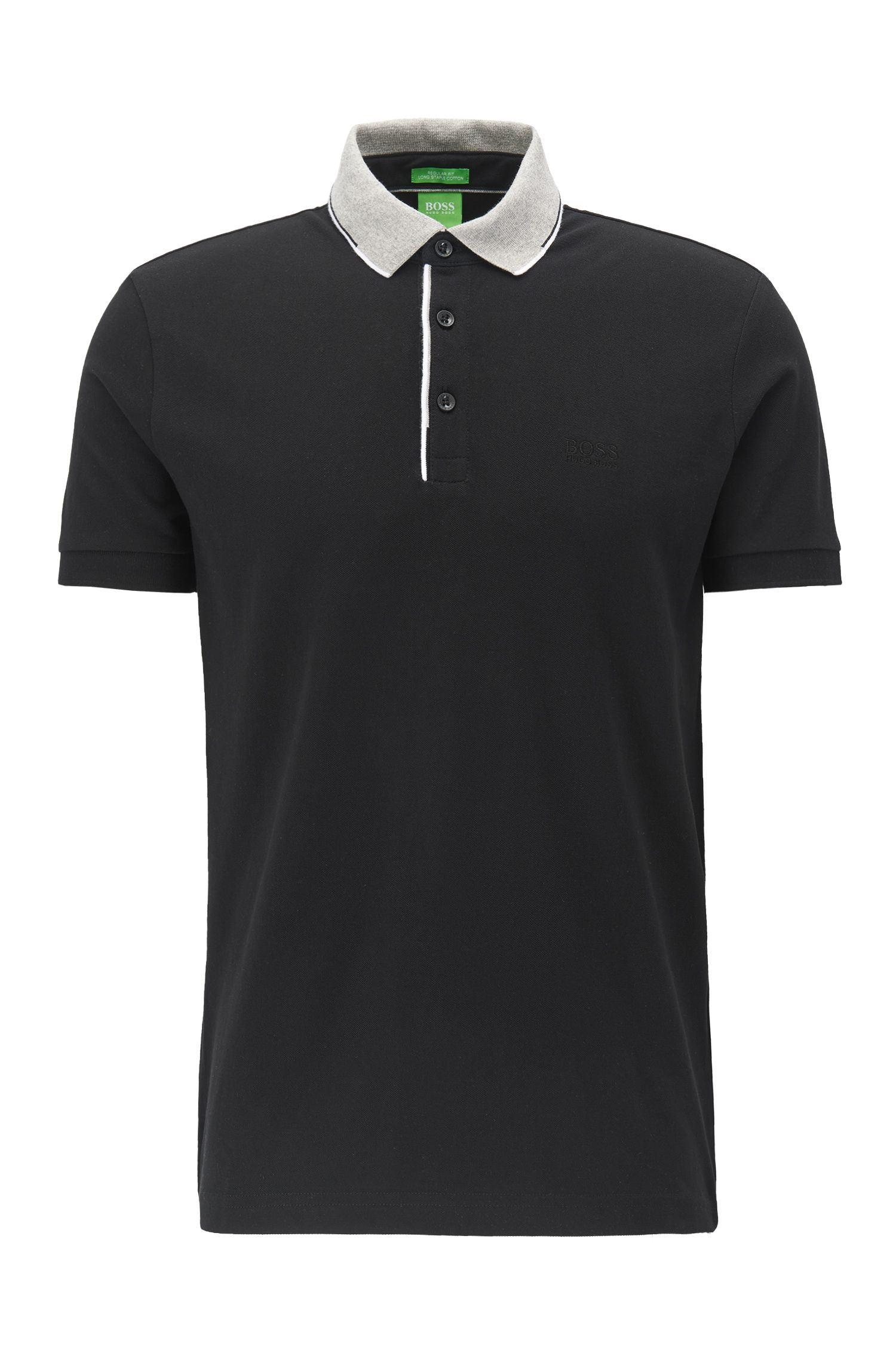 Regular fit cotton piqué polo shirt with contrast collar