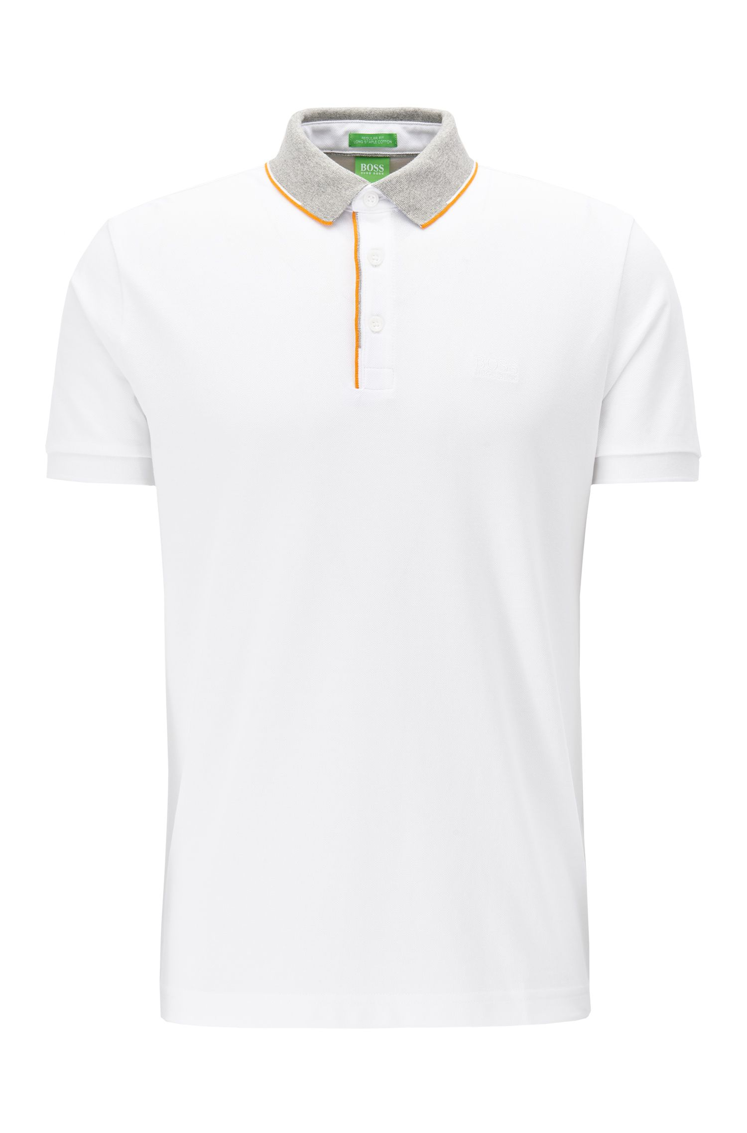 Regular fit cotton piqué polo shirt with contrast collar