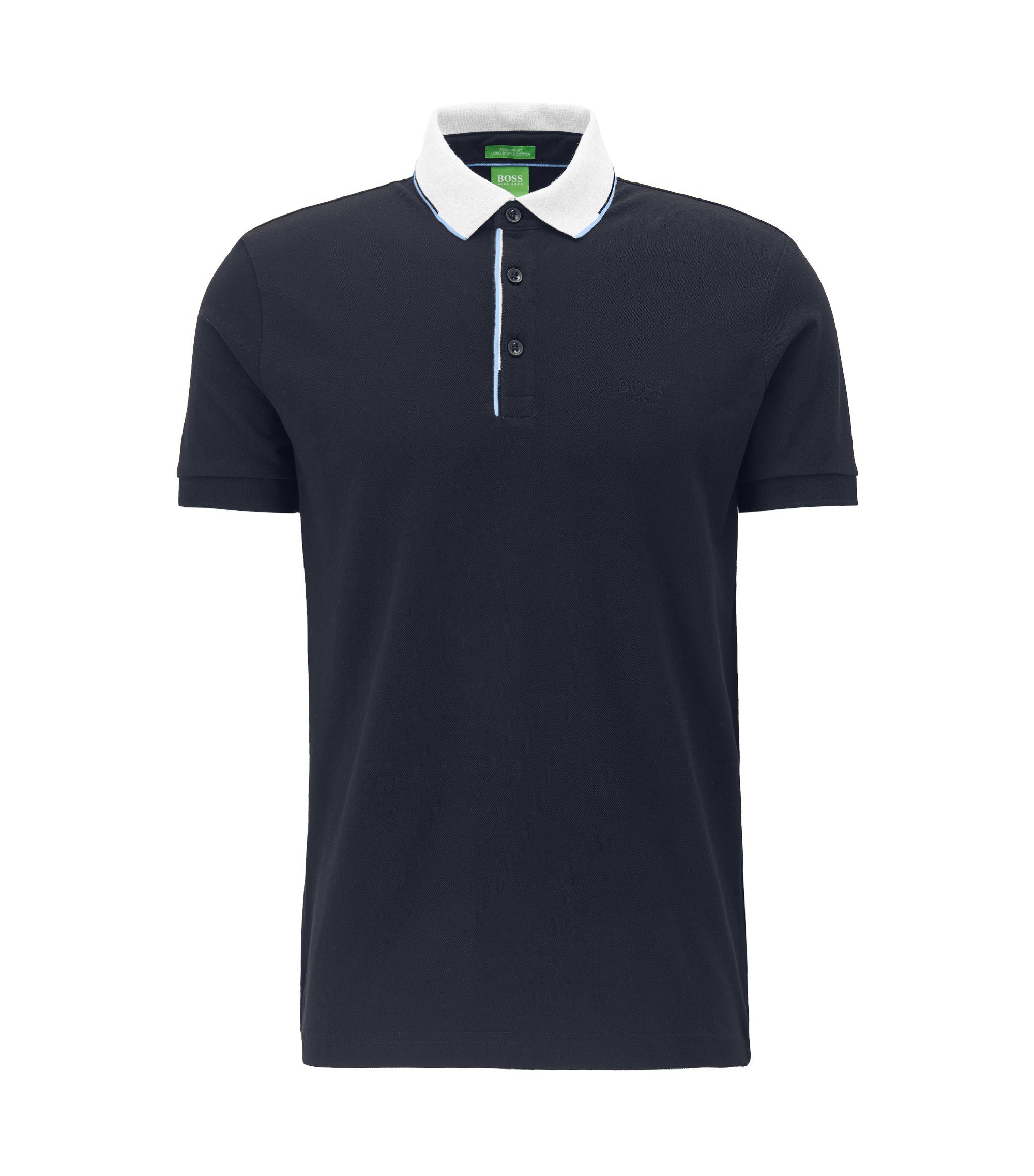 Polo regular fit in piqué di cotone con colletto a contrasto , Blu scuro