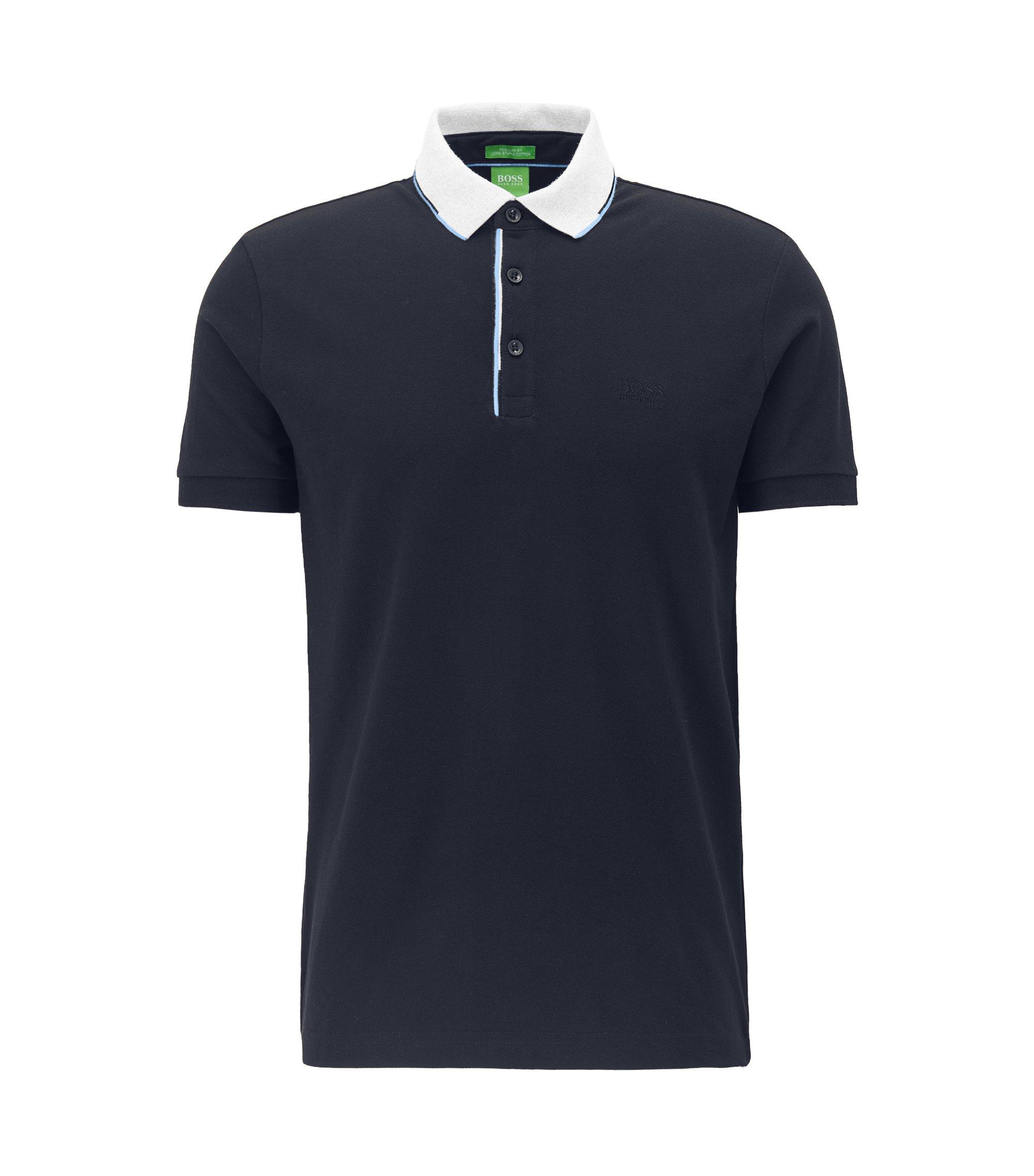 Regular-Fit Poloshirt aus Baumwoll-Piqué mit Kontrastkragen , Dunkelblau