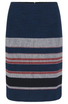 Slightly flared skirt in stretchy cotton blend: 'Vetina', Patterned