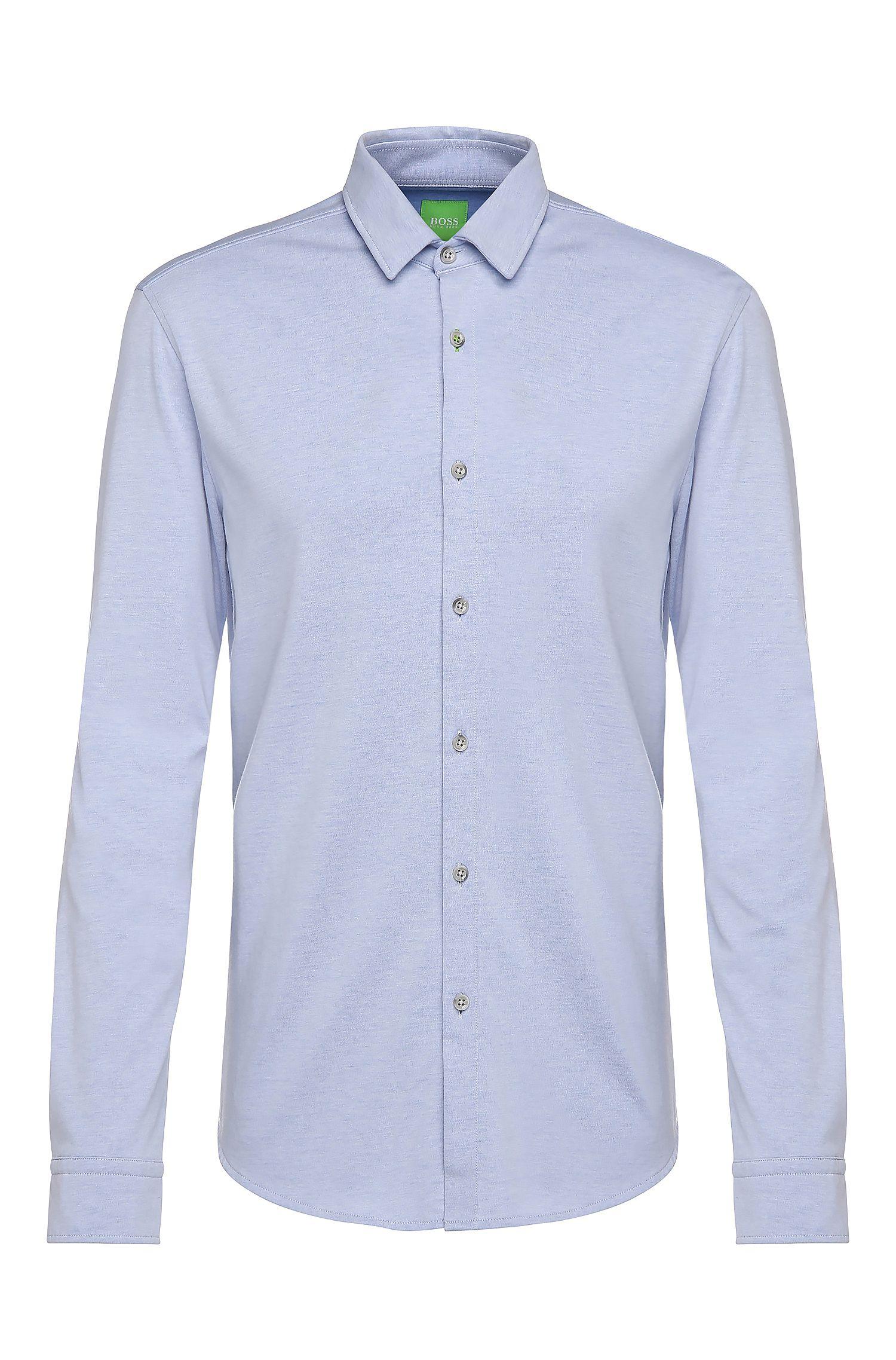 Slim-fit jerseyoverhemd van een katoenmix: 'Brizzi'