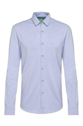Slim-fit jerseyoverhemd van een katoenmix: 'Brizzi', Blauw