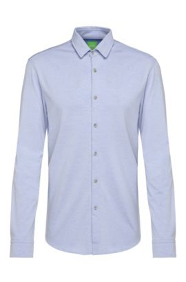 Slim-fit jersey shirt in cotton blend: 'Brizzi', Blue