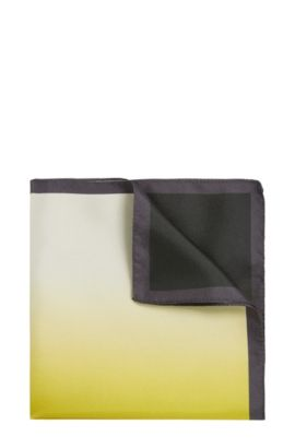 Silk pocket square with colour graduation: 'Pocket sq. 33x33 cm', Yellow