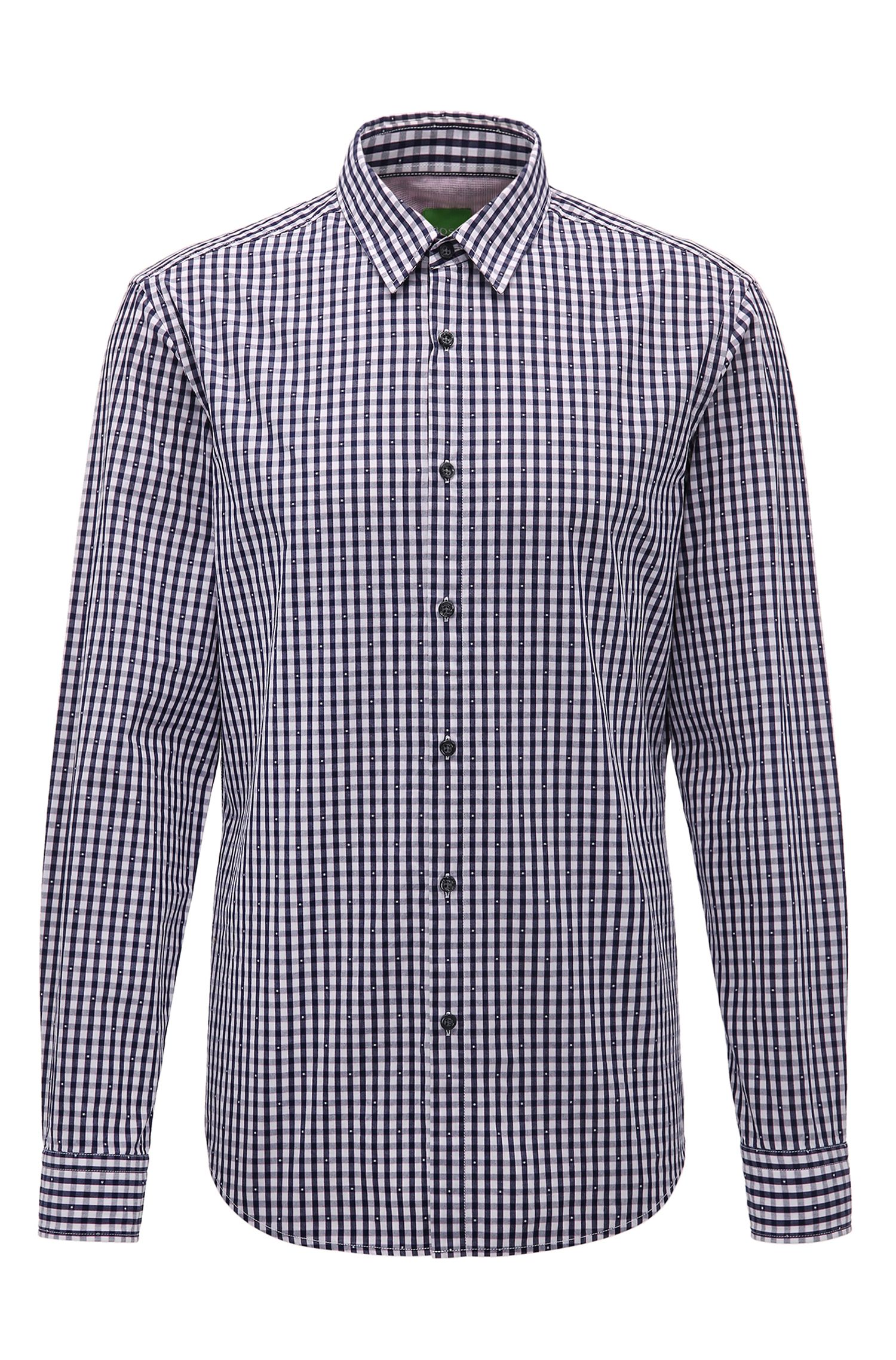 Checked regular-fit cotton shirt: 'C-Bustai'
