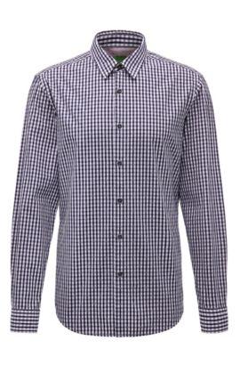 Camisa regular fit a cuadros en algodón: 'C-Bustai', Azul oscuro