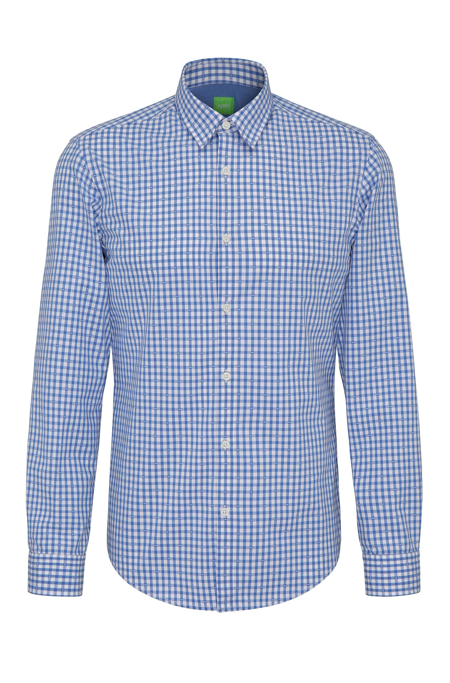Camisa regular fit a cuadros en algodón: 'C-Bustai'