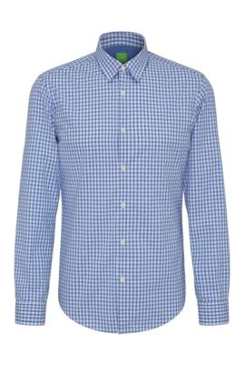 Checked regular-fit cotton shirt: 'C-Bustai', Blue