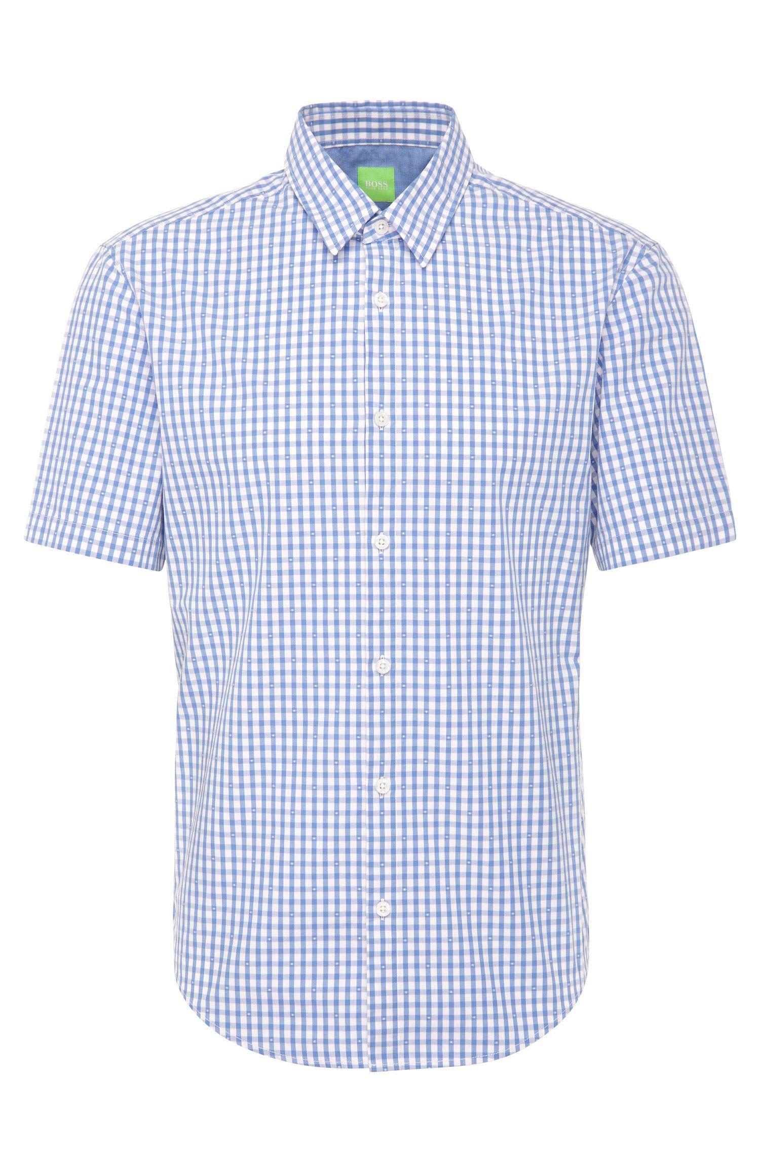 Kariertes Regular-Fit Hemd aus Baumwolle mit kurzen Ärmeln: ´C-Bustai`