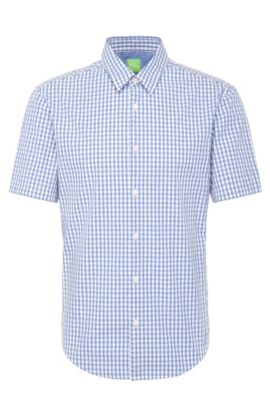 Checked regular-fit cotton shirt with short sleeves: 'C-Bustai', Blue