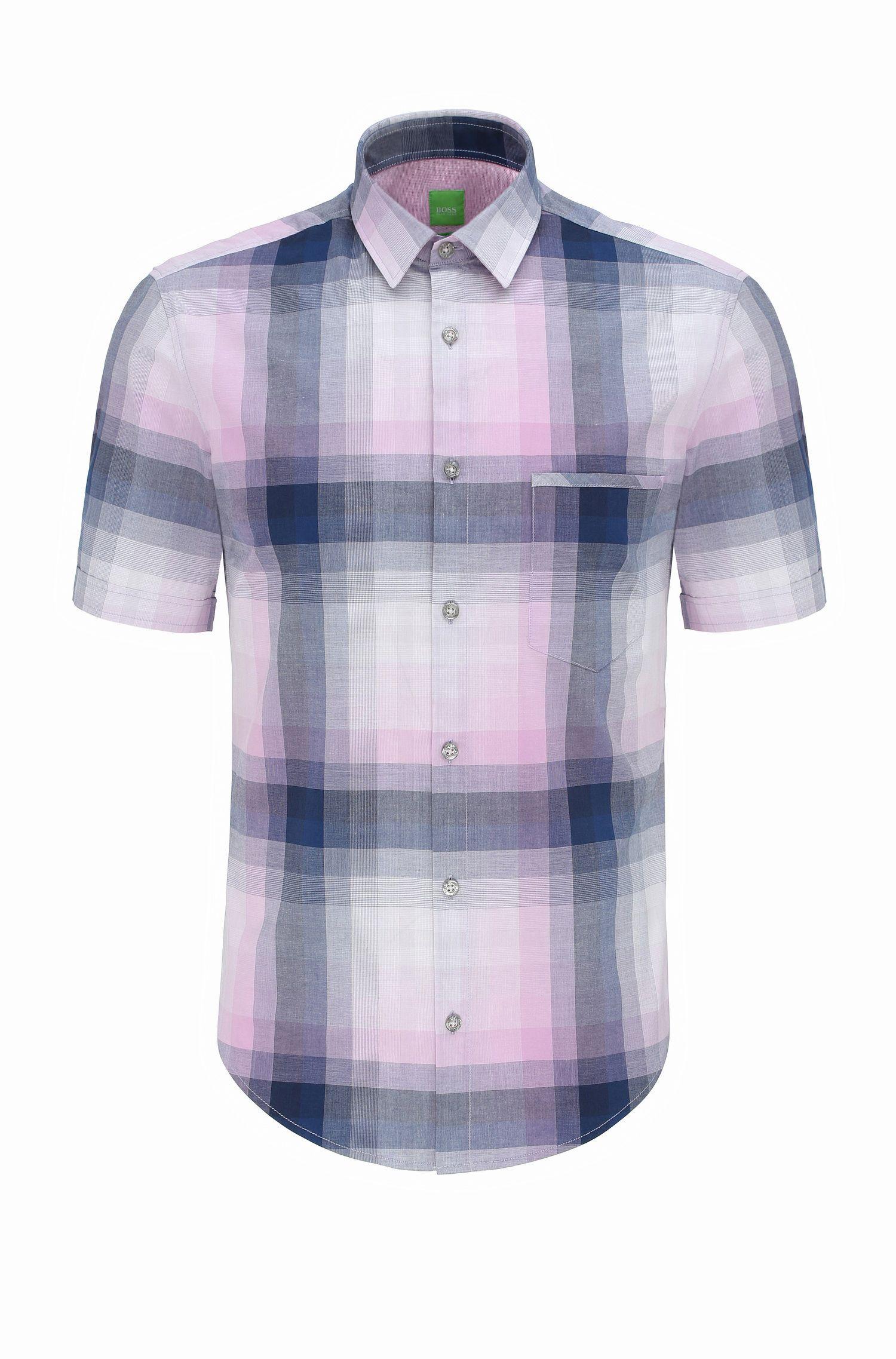 Regular-fit overhemd van katoen met korte mouwen en ruitdessin: 'C-Bansino'