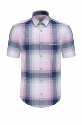 Regular-fit overhemd van katoen met korte mouwen en ruitdessin: 'C-Bansino', Lichtpaars
