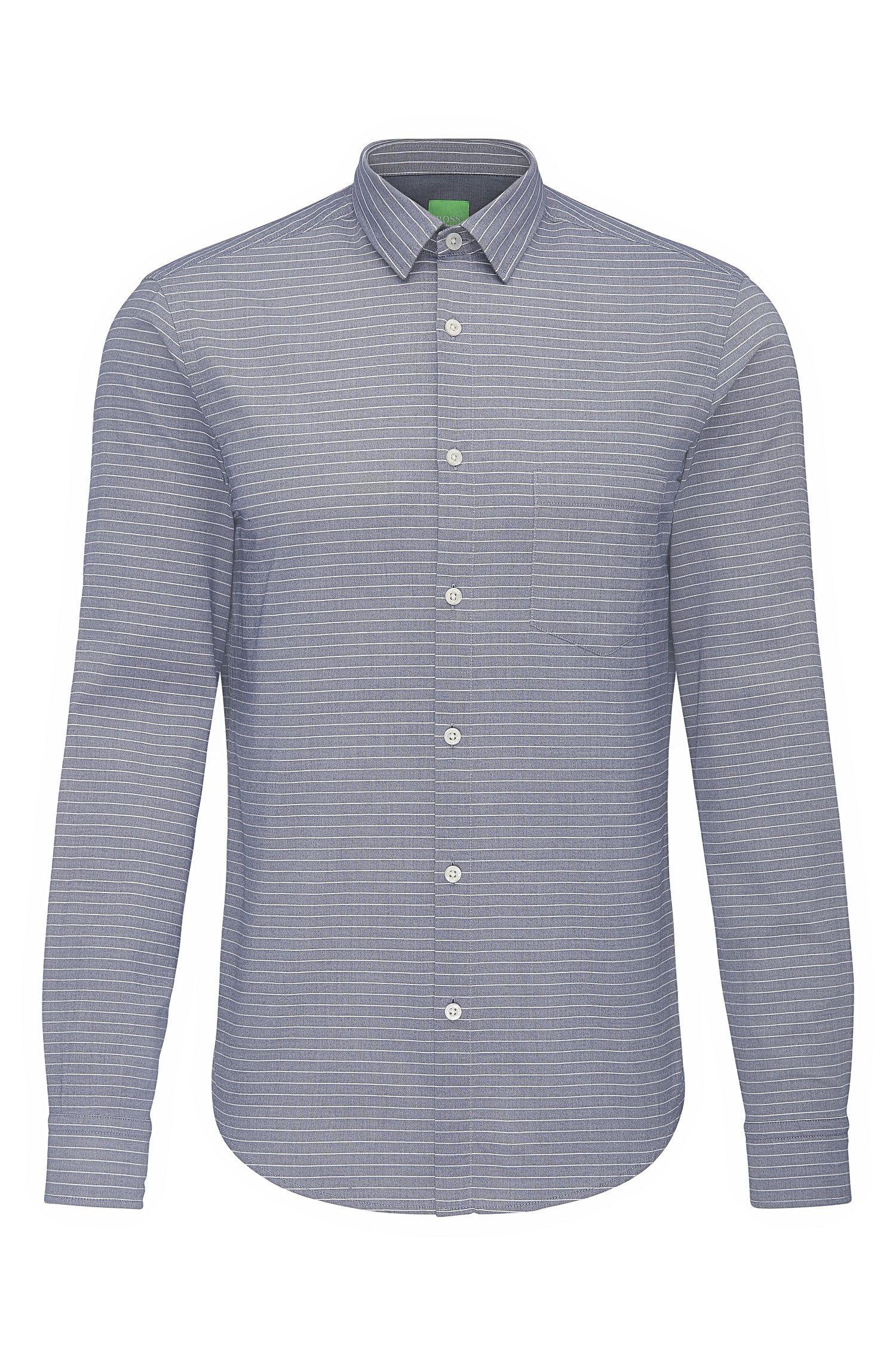 Camisa regular fit en algodón con estampado de rayas: 'C-Baul'