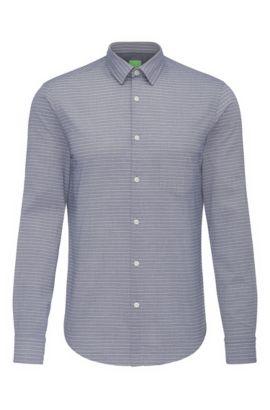 Camisa regular fit en algodón con estampado de rayas: 'C-Baul', Azul oscuro