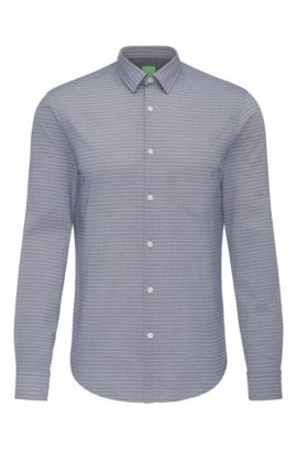Regular-fit cotton shirt with striped pattern: 'C-Baul', Dark Blue