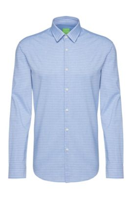 Regular-fit cotton shirt with striped pattern: 'C-Baul', Blue