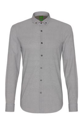 Camisa slim fit en algodón con un fino estampado: 'C-Bilia', Azul oscuro