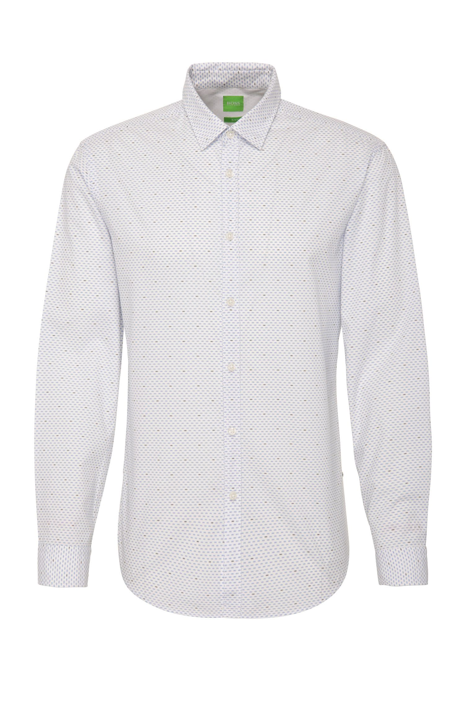 Camisa slim fit en algodón con estampado de puntitos: 'C-Bocci'