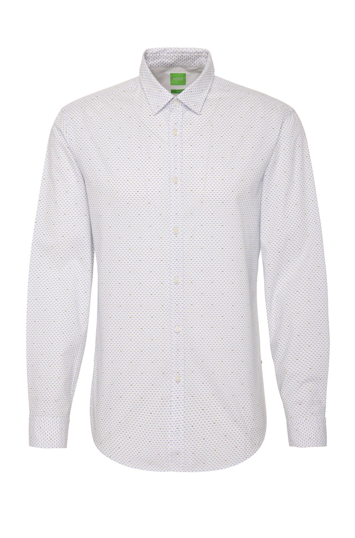 Chemise Slim Fit en coton à motif pois: «C-Bocci»