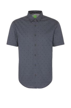 Slim-fit shirt in cotton with short sleeves: 'C-Boccino', Dark Blue