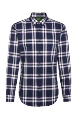 Regular-fit shirt with tartan pattern: 'C-Bopaz', Dark Blue