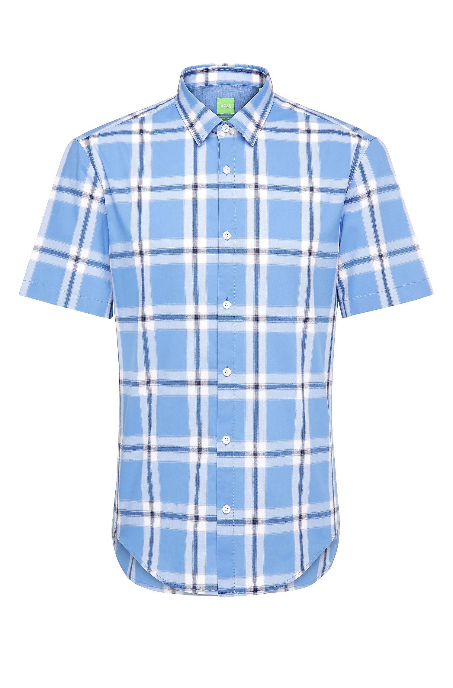 Regular-fit overhemd van katoen met korte mouwen en ruitdessin: 'C-Bopazy'