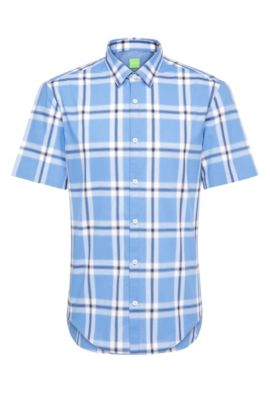 Checked regular-fit short-sleeved shirt in cotton: 'C-Bopazy', Blue