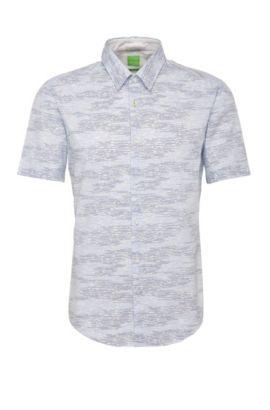 Chemise à manches courtes Slim Fit en coton à motif: «Bhillo», Bleu
