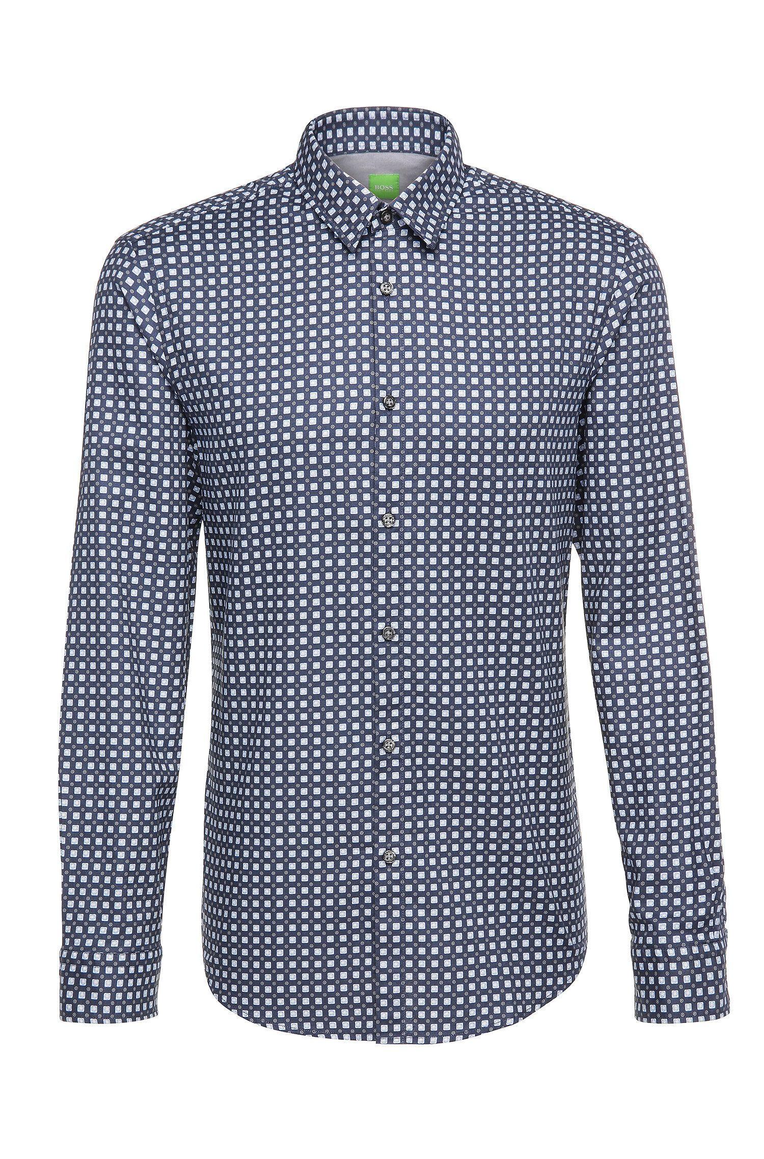 Gemustertes Regular-Fit Hemd aus Baumwolle: ´C-Bustai`