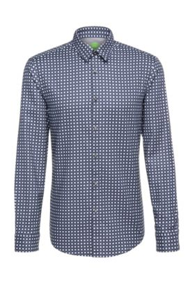 Patterned regular-fit shirt in cotton: 'C-Bustai', Dark Blue