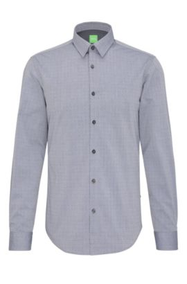 Finely patterned regular-fit shirt in cotton: 'C-Bustai', Dark Blue