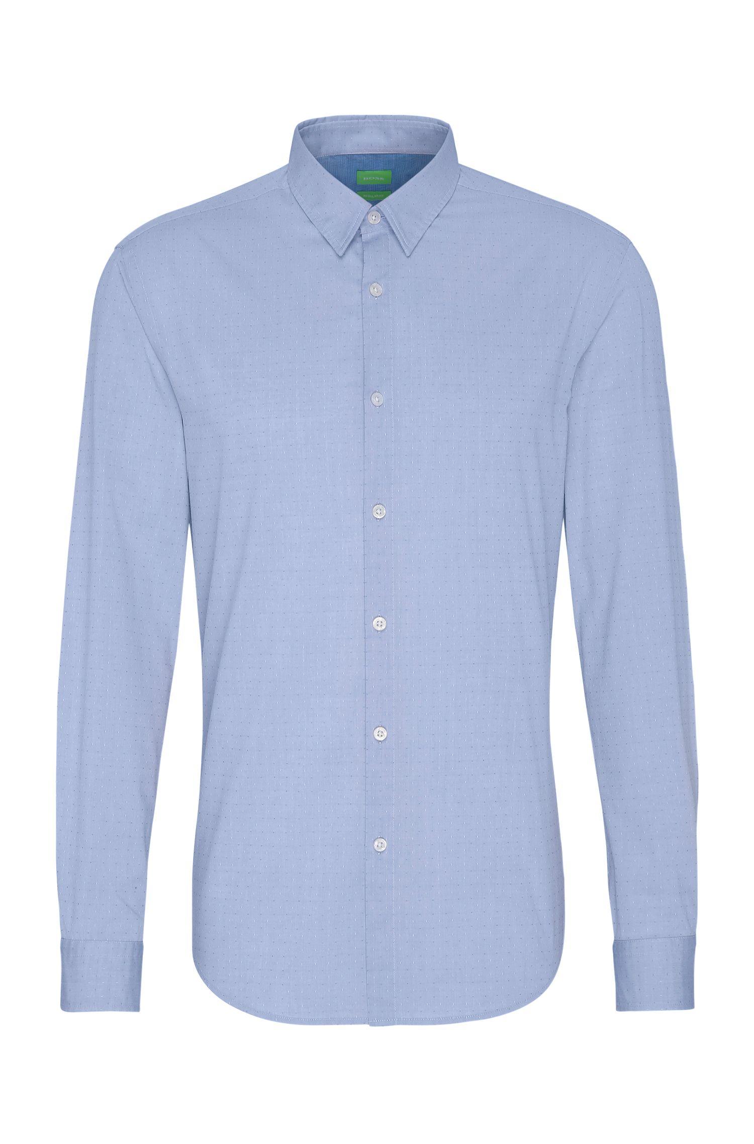 Fein gemustertes Regular-Fit Hemd aus Baumwolle: ´C-Bustai`