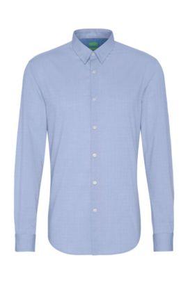 Fein gemustertes Regular-Fit Hemd aus Baumwolle: ´C-Bustai`, Blau