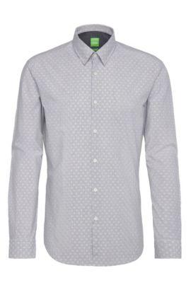 Patterned regular-fit shirt in cotton: 'C-Bustai', Dark Blue
