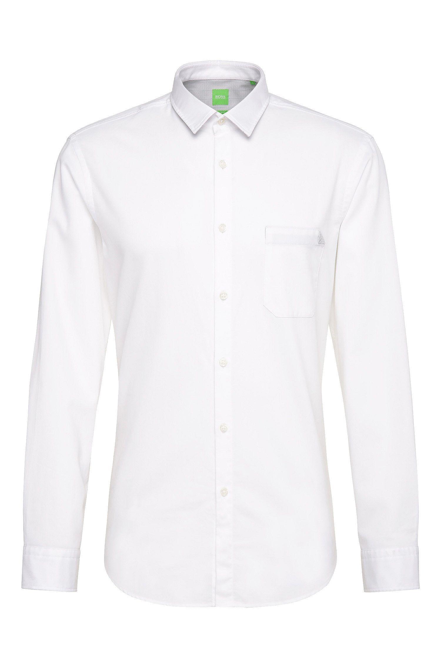 Unifarbenes Regular-Fit Hemd aus Baumwolle: ´C-Bruel`
