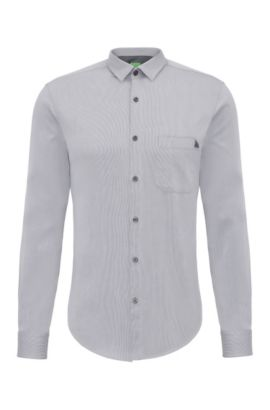 Plain regular-fit shirt in cotton: 'C-Bruel', Dark Blue